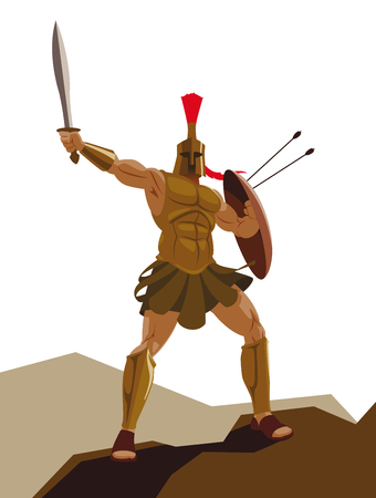 Angry spartan warrior with armor and hoplite shield holding a sword Illustration