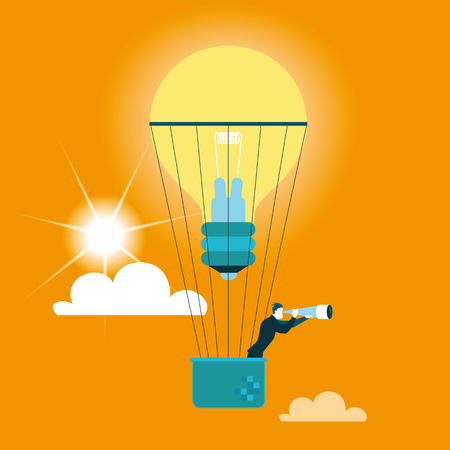 flying in a balloon. Vector illustration. Business concept Stock Photo