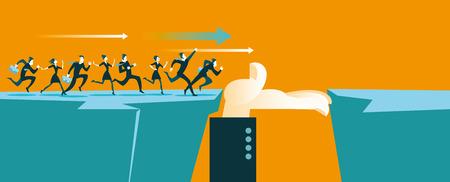 Hand hilft, die Kluft zu überqueren. Geschäftskonzept. Vektor-Illustration