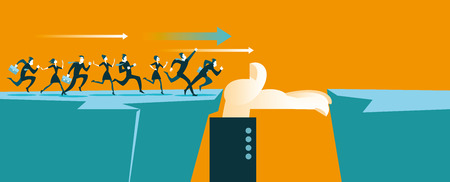 personas corriendo: La mano ayuda a cruzar el abismo. Concepto de negocio. Ilustración del vector