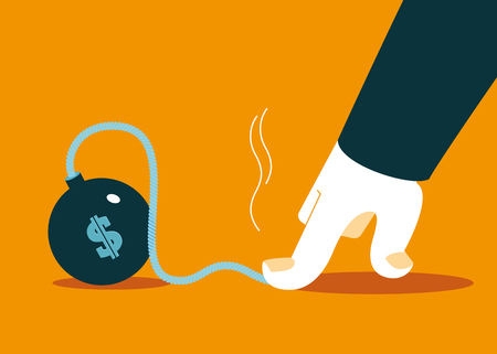 stressed people: hand to stop the explosion of dollar. Preventing. Vector illustration
