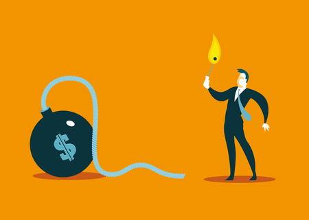 lights the fuse in the bomb. Business concept. Vector illustration