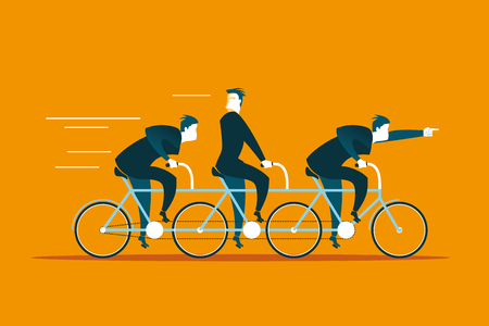 business direction: Tandem ride in the same direction. Business concept. Vector illustration Stock Photo