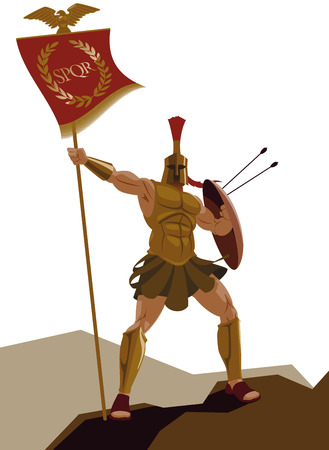 trojans: Spartan warrior with armor and with the flag holding a sword. Vector illustration