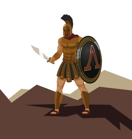 Angry spartan warrior with armor and hoplite shield holding a sword. Vector illustration Stock Photo