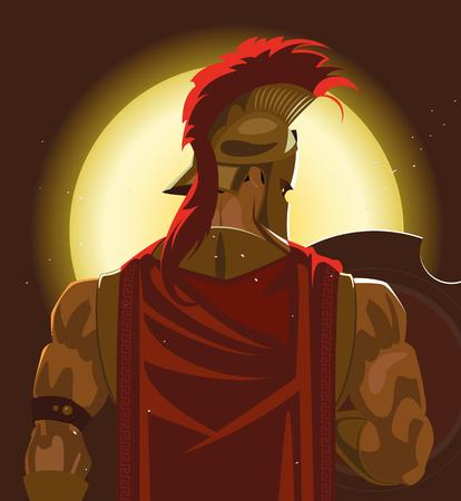 Greek Spartan Warrior or Trojan Soldier holding shield and sword - Vector Illustration Фото со стока