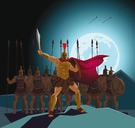 Detachment of Roman legionaries. Warriors defenders. Vector illustration Stock Photo