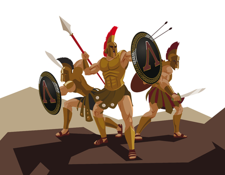 Detachment of Roman legionaries. Warriors defenders. Vector illustration Stock Photo