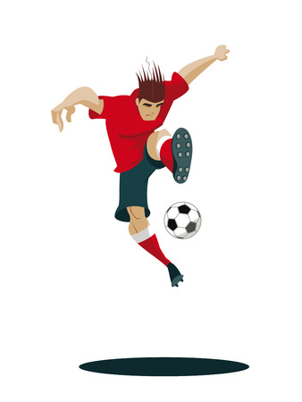 soccer goal: Soccer Player Kicking Ball. Vector Illustration