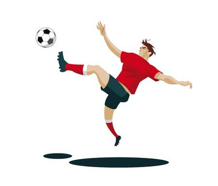 Soccer Player Kicking Ball. Vector Illustration