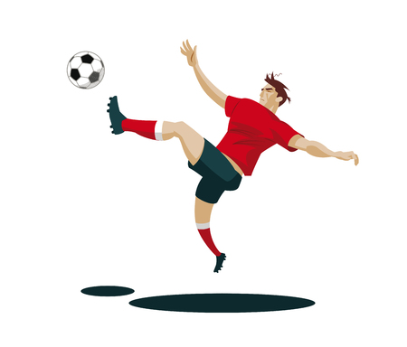 Voetbalspeler Kicking Ball. Vectorillustratie