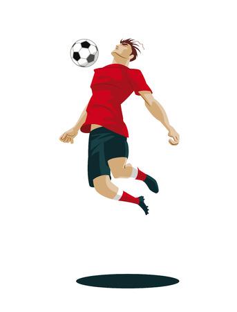 Soccer Player Kicking Ball. Vektor illusztráció