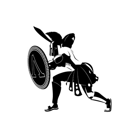 Angry spartan warrior with armor and hoplite shield holding a sword. Black and white. Vector illustration.