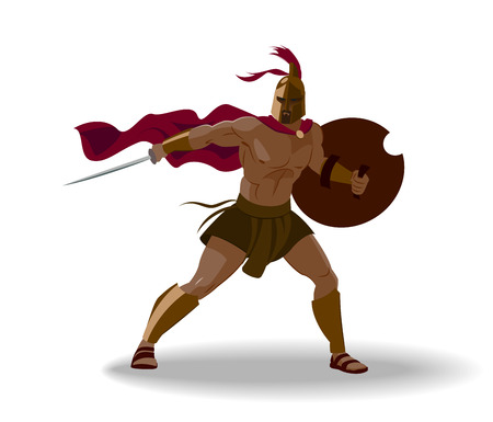 Angry spartan warrior with armor and hoplite shield holding a sword. Isolated. Vector illustration