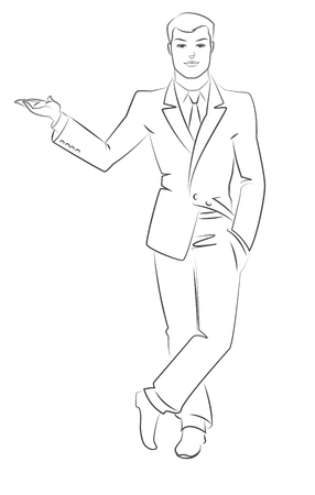 Young businessman standing. Outline sketch. Vector illustration isolated on a white background