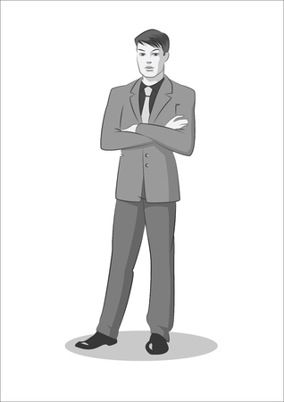 Young businessman standing. Vector illustration isolated on a white background