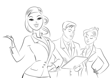 Business people meeting. Outline sketch. Vector illustration isolated on a white background