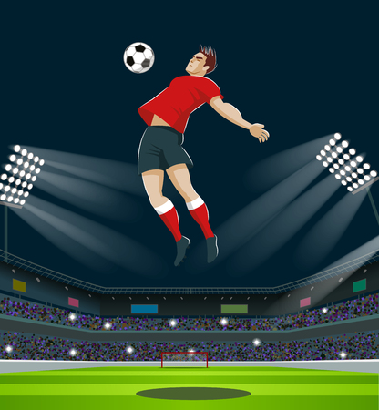 Soccer Player Kicking Ball in stadium. Light, stands, fans. Vector Illustration Illustration