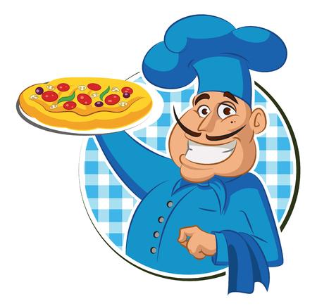 cucina pizza. Chef. Illustrazione vettoriale isolato su uno sfondo bianco