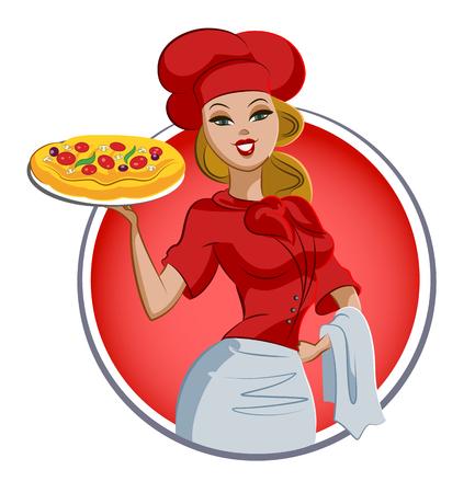 Cocinero de pizza mujer. Cocinero. Ilustración de vector aislado en un fondo blanco