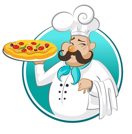 serving tray: cook pizza. Chef. Vector illustration isolated on a white background
