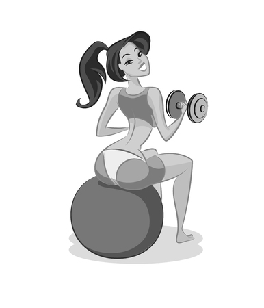 Woman fitness. Girl is engaged in fitness. Vector illustration isolated on a white background.