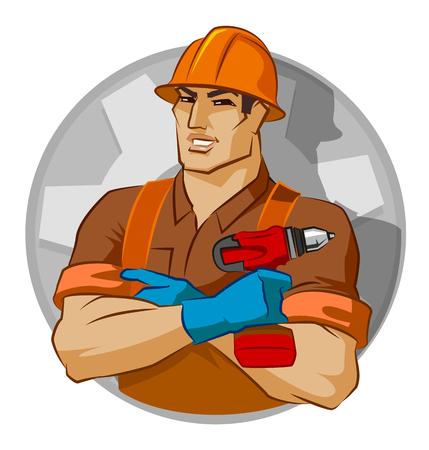 repairman with screw gun on a white background