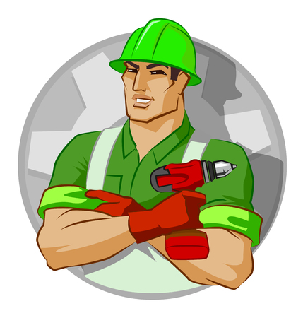 repairman with screw gun on a white background