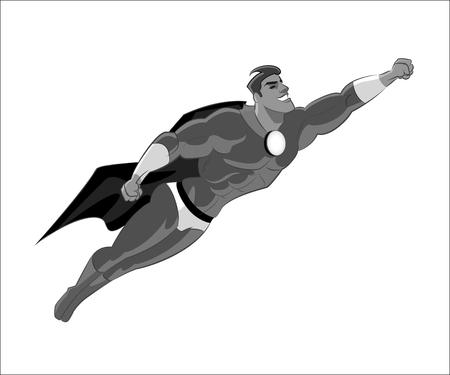 Superhero flying on white background, vector illustration.