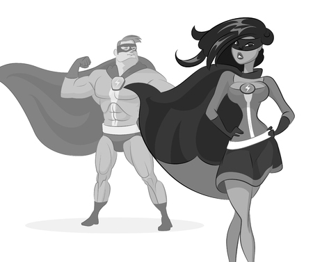 Super hero couple. Man and woman. Vector illustration on a white background. Çizim