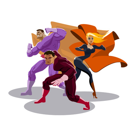 Superhero team. Look around. Stand in readiness. Vector illustration Illustration