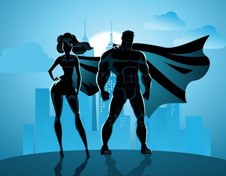 Pareja de superhéroes: superhéroes masculinos y femeninos, posando delante de una luz. Fondo de la ciudad.