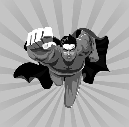 カメラにスーパー ヒーローを飛んでいます。ベクトル図