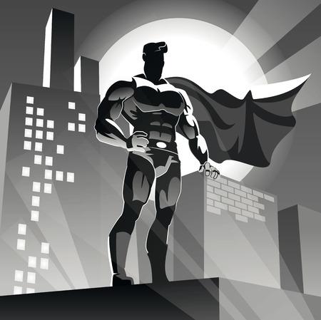都市の背景にスーパー ヒーロー。ホリデージャック イラスト