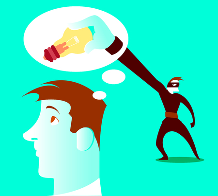 Thief steals your ideas out of your head. Vector illustration