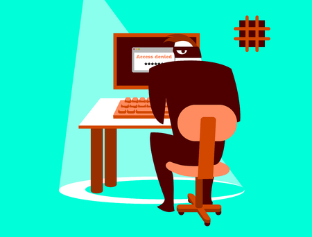 Unsafe correspondence. Information security. Carefully hacker! Vector illustration