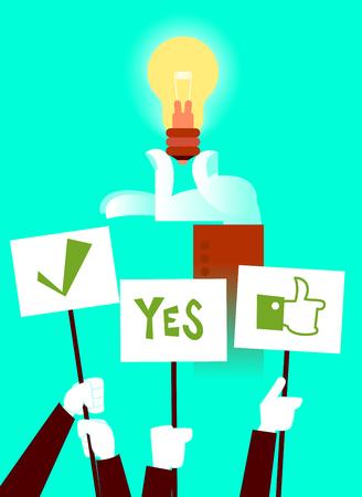 Vote for the idea. Light bulb. Vector illustration Illustration