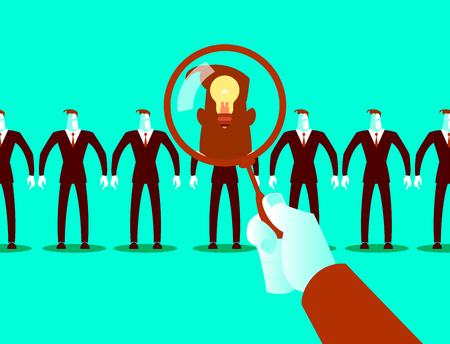 Search employees. Selecting ideas. Concept. Vector illustration