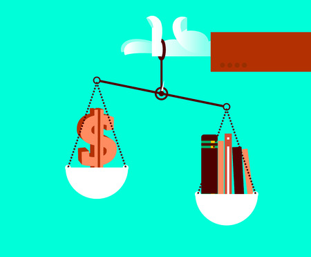 The choice between money and knowledge. Vector illustration Illustration