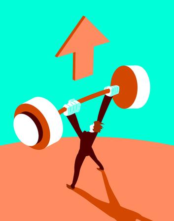 Winner raises the barbell up. Vector illustration