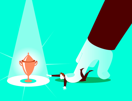 Aggressive obstacle from the boss. Concept illustration. Vector illustration Stock Illustratie