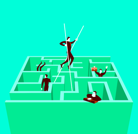 On stilts goes through the maze. Vector illustration Illustration