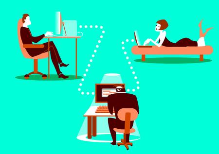 Illustration of hacking concept vector illustration
