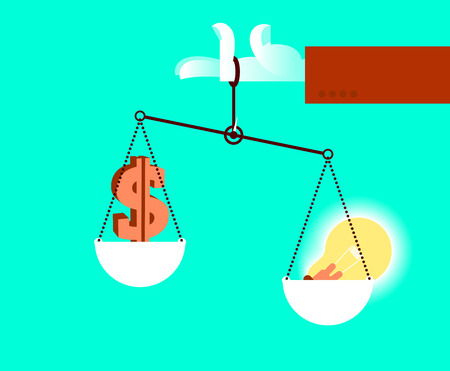 Hand holding scales with idea and money; Difficult choice concept illustration.