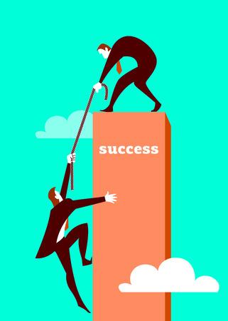 The businessman helps the partner to get on a pedestal. Vector illustration