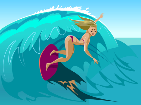 Young girl with surfboard riding a wave Cartoon vector illustration