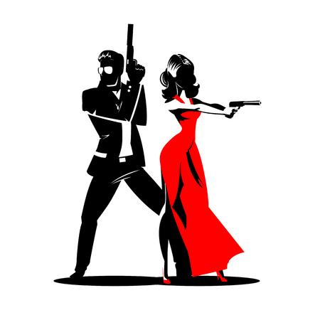 Team of secret agents posing on camera illustration.
