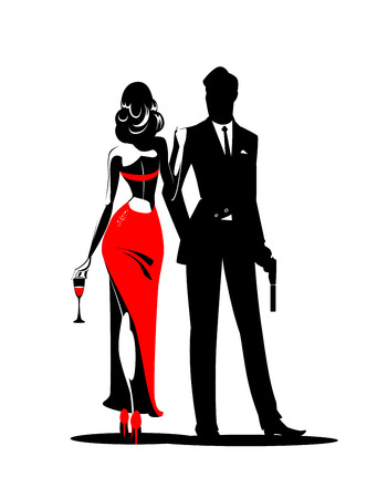 Secret Agent with gun and glass. Woman in red turned his back to us. Vector illustration Stock Illustratie
