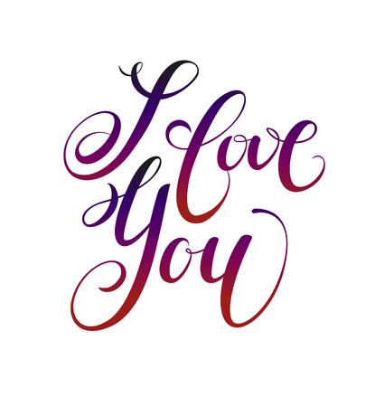 Ik hou van jou. Valentijnsdag wenskaart met kalligrafie. Hand getrokken ontwerpelementen. Handgeschreven moderne borstel belettering. Stock Illustratie