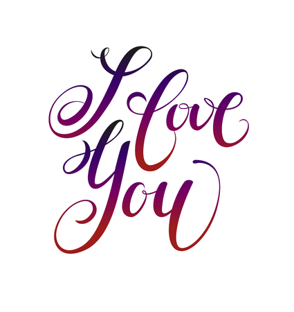 I love you.  Valentines day greeting card with calligraphy. Hand drawn design elements. Handwritten modern brush lettering.